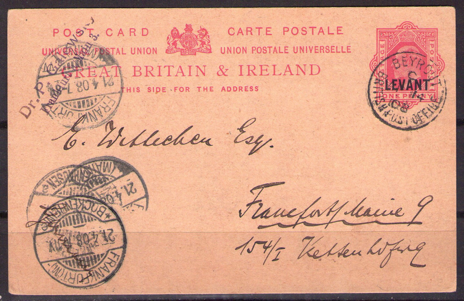 1908.04.14 Post Card King Edward VII 1p Levant