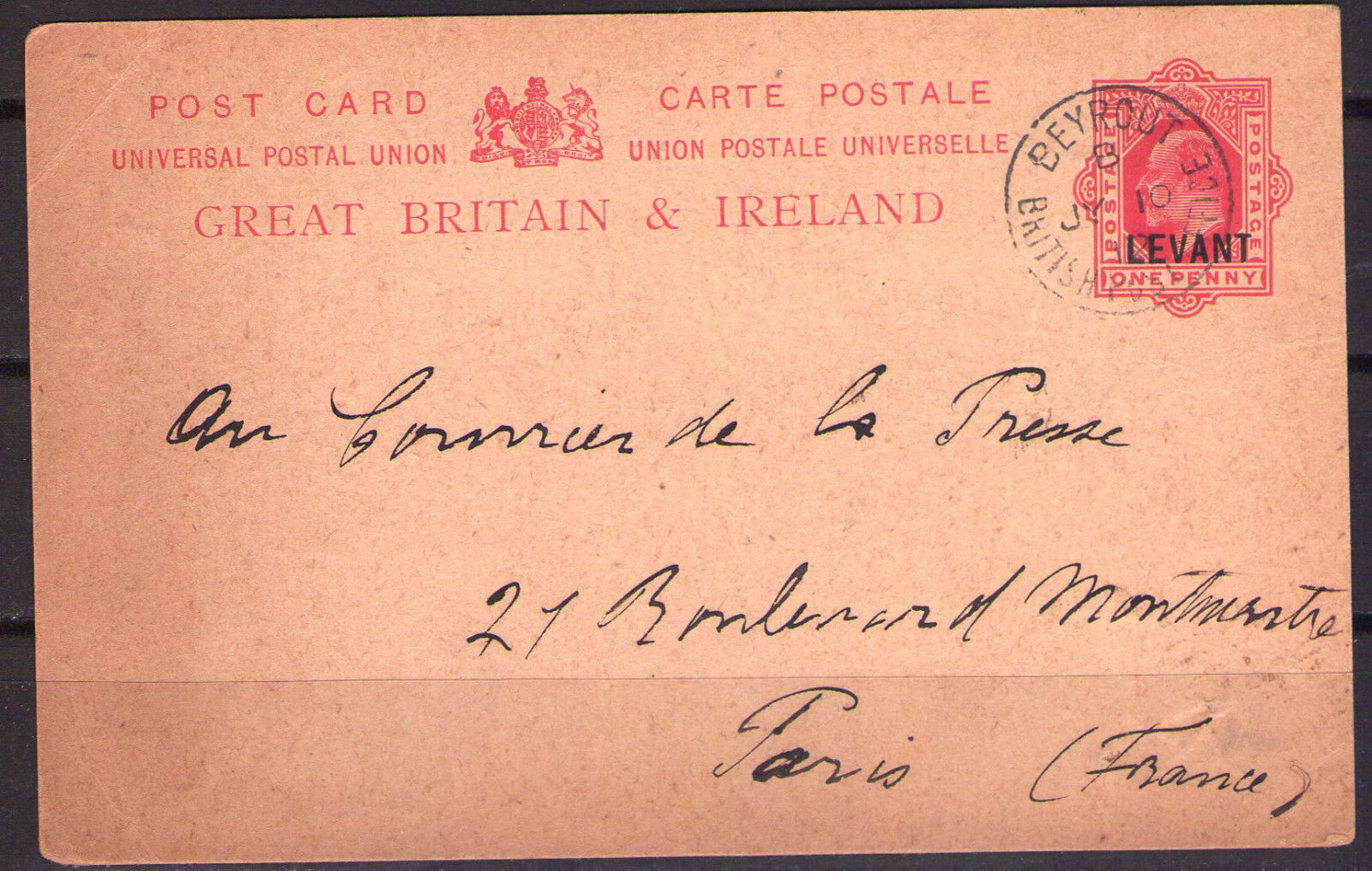 1912.07.10 Post Card King Edward VII 1p Levant