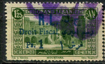 1927-9 Fiscal 1 Ps. on 1.25 p Grand Liban Green DD J25 291198591962